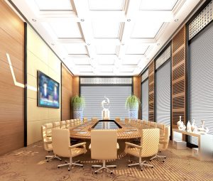 modern boardroom with conference table