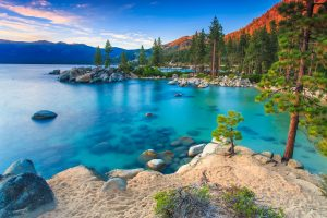 crystal blue waters of Lake Tahoe