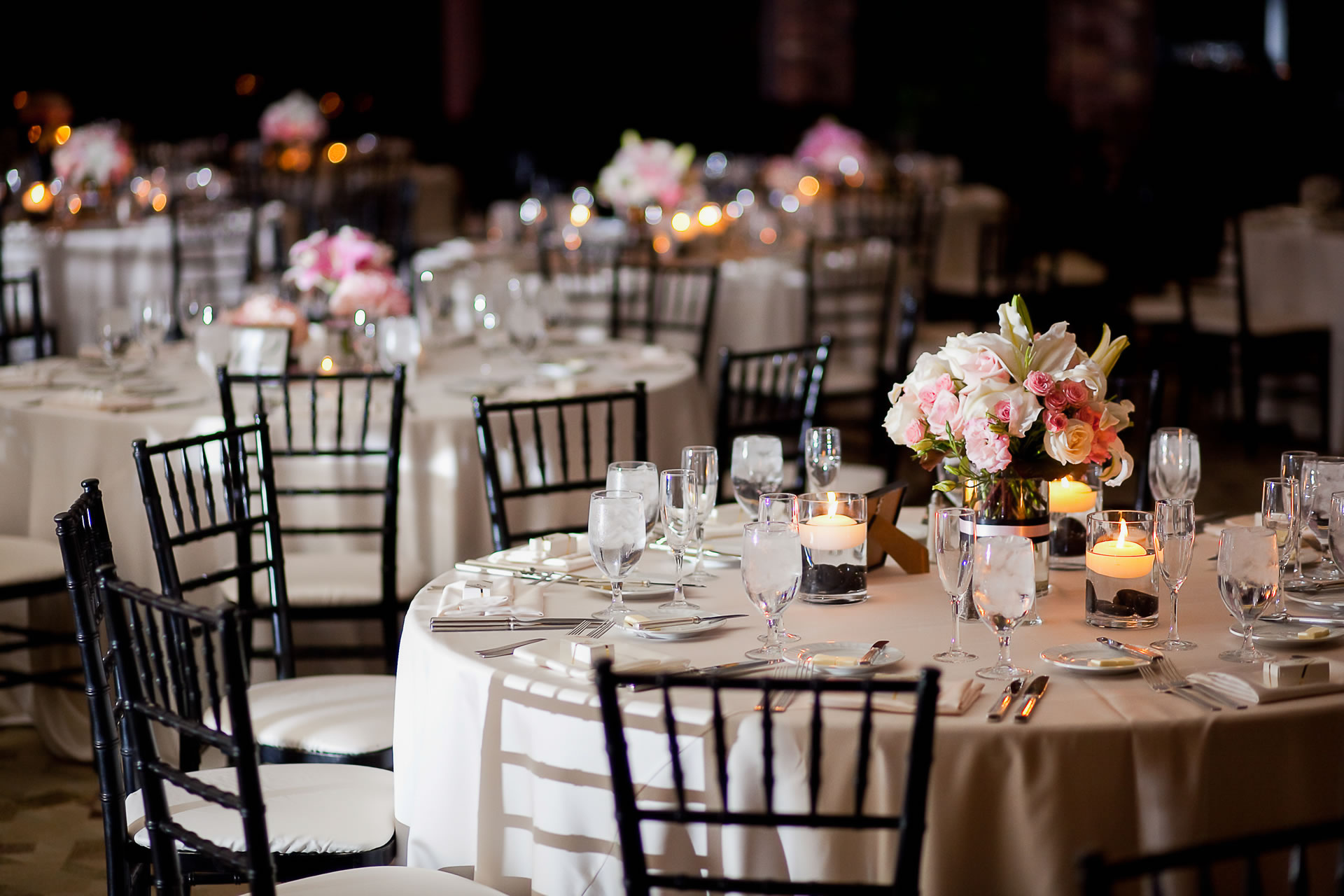 banquet tables with floral arrangements