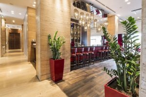 modern hotel bar and hallway with floor plants