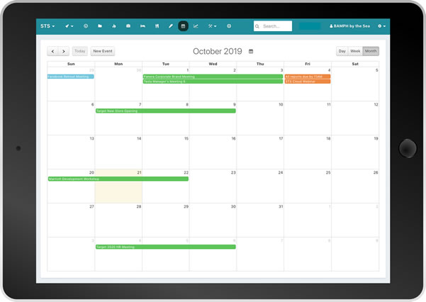 STS Cloud event calendar on tablet