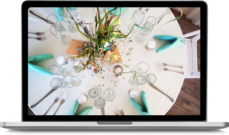 event table set up on laptop screen