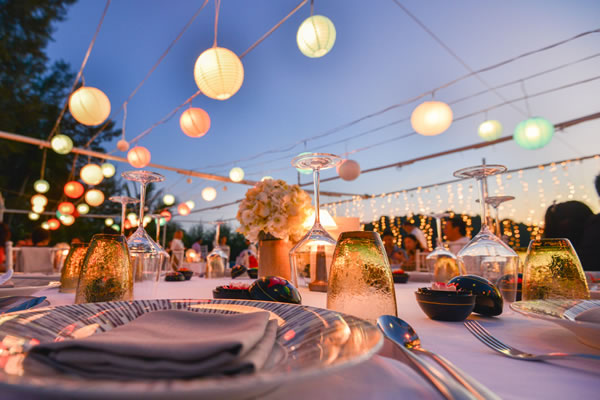 outdoor party venue with glowing lights
